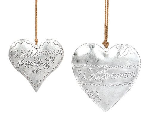 Metall Herz Türkranz Willkommen weiß grau Dekoration Haustür Aufhänger 23441