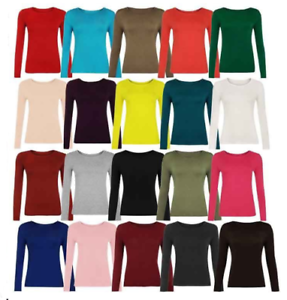 New-Womens-Kids-Girls-Long-Sleeve-Round-Neck-Plain-Basic-Ladies-Stretch-T-Shirt