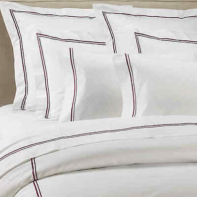 New Frette 5 Pc Set Piave Flat Fitted Sheet Duvet White Plum Bordeaux Queen Ebay