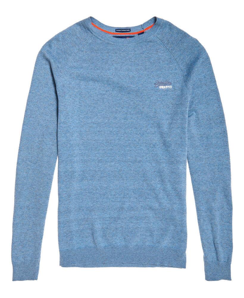 Camicia uomo Superdry arancia Label maglione girocollo cotone cotone cotone Blu Pacifico Grit S-XXXL 022e1a
