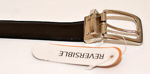 New-Leather-Black-and-Brown-Reversable-Belt-32-034-to-48-034-Chrome-Buckle