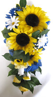 17 Piece Package Wedding Bouquets Bridal Silk Flowers Sunflower Royal Cascade