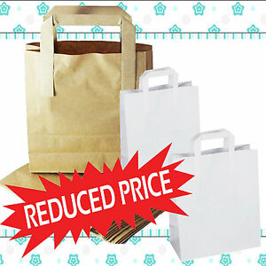 Takeaway Brown Kraft Paper SOS Carrier Bags with Flat Handles Gifts