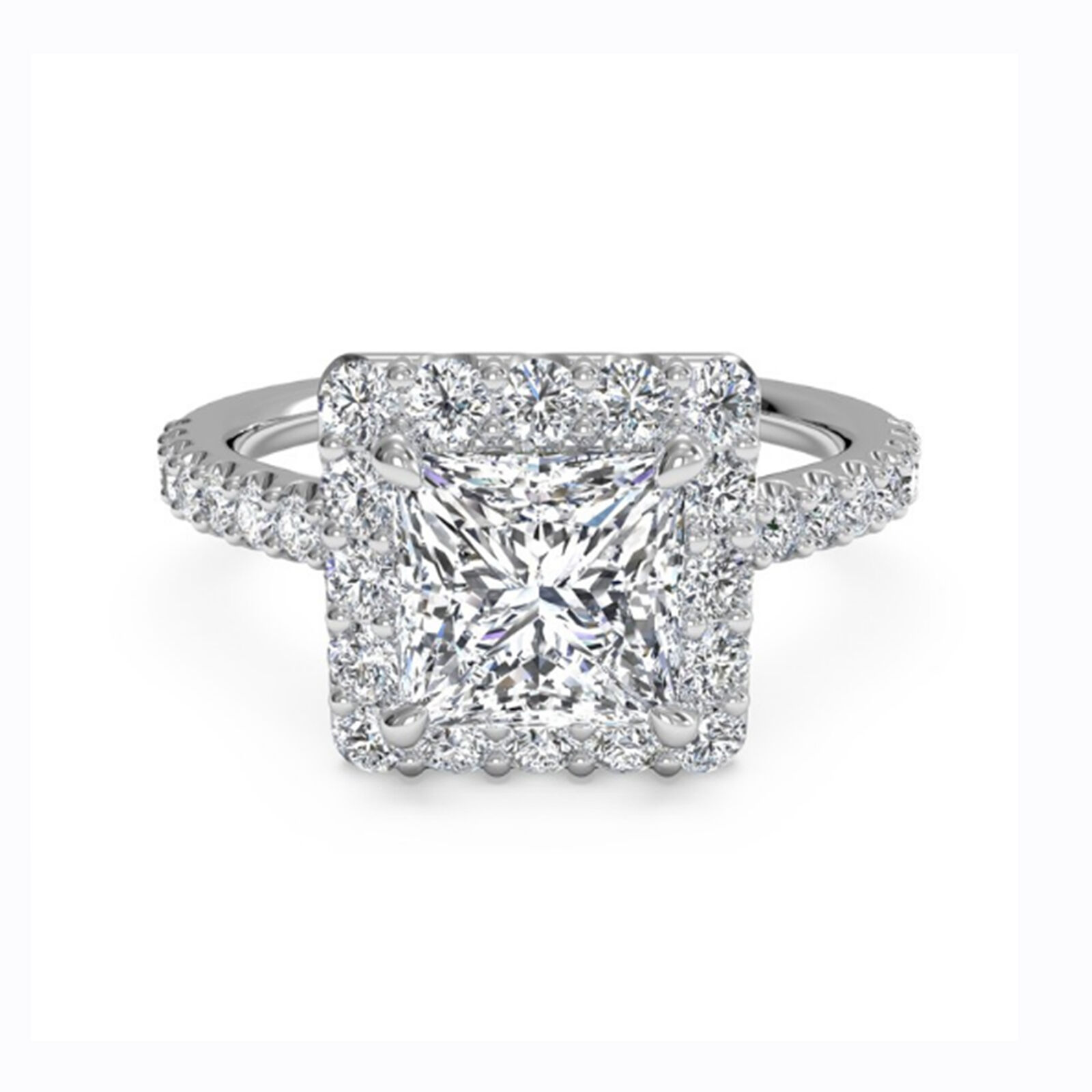 Princess Halo 1.30 Ct Diamond Engagement 14K White gold Ring 8 9