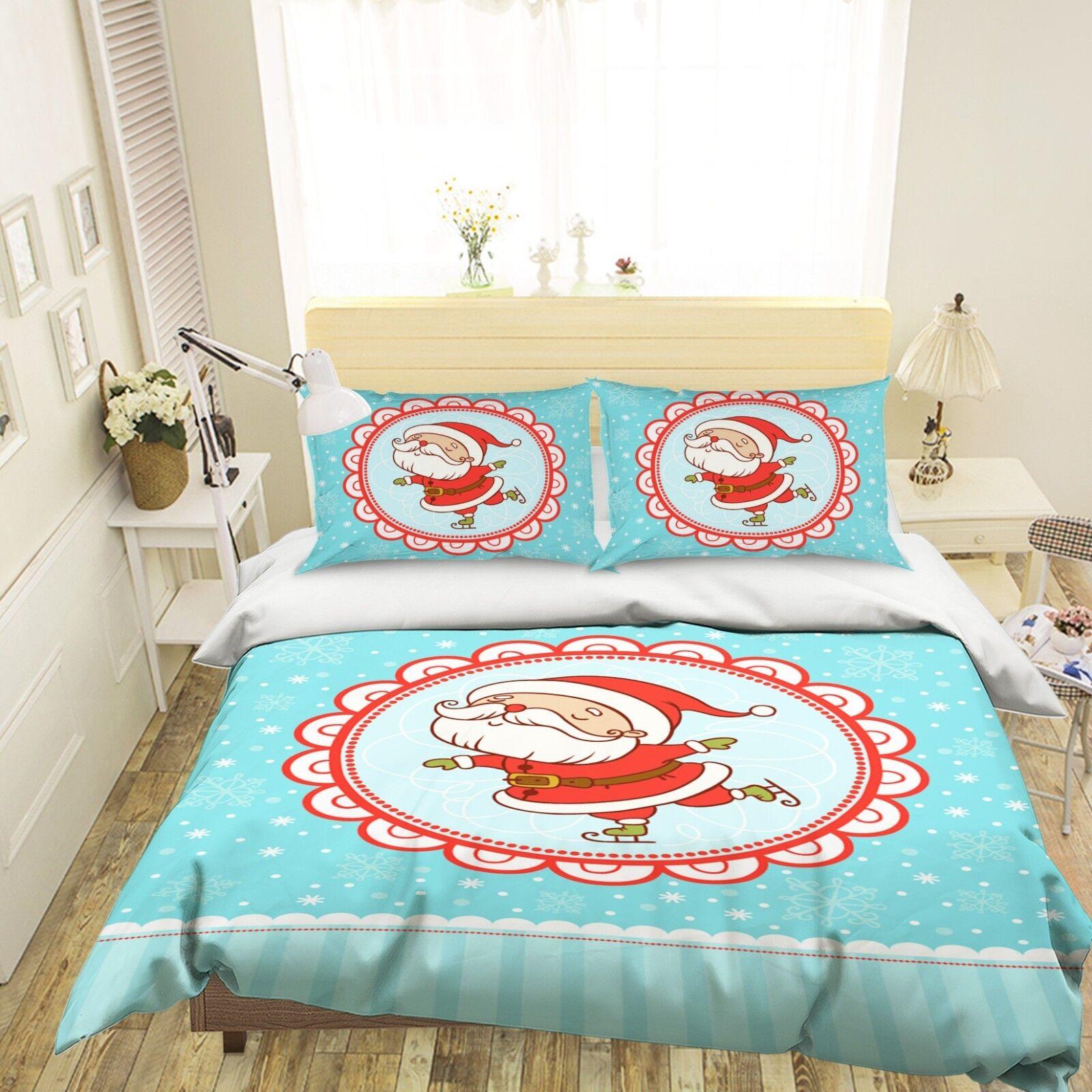 3D Christmas Xmas 502 Bed Pillowcases Quilt Duvet Cover Set Single Queen King AU