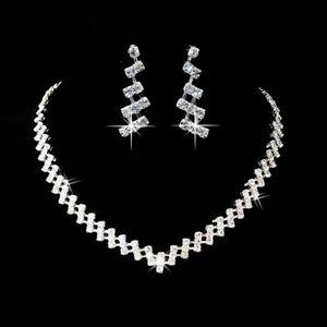 Halskette Collier Strass Ohrringe Schmuckset Schmuck Braut Hochzeit SS1