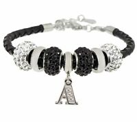 Qvc Stainless Steel Black Leather Bracelet With Initial And Crystal Station