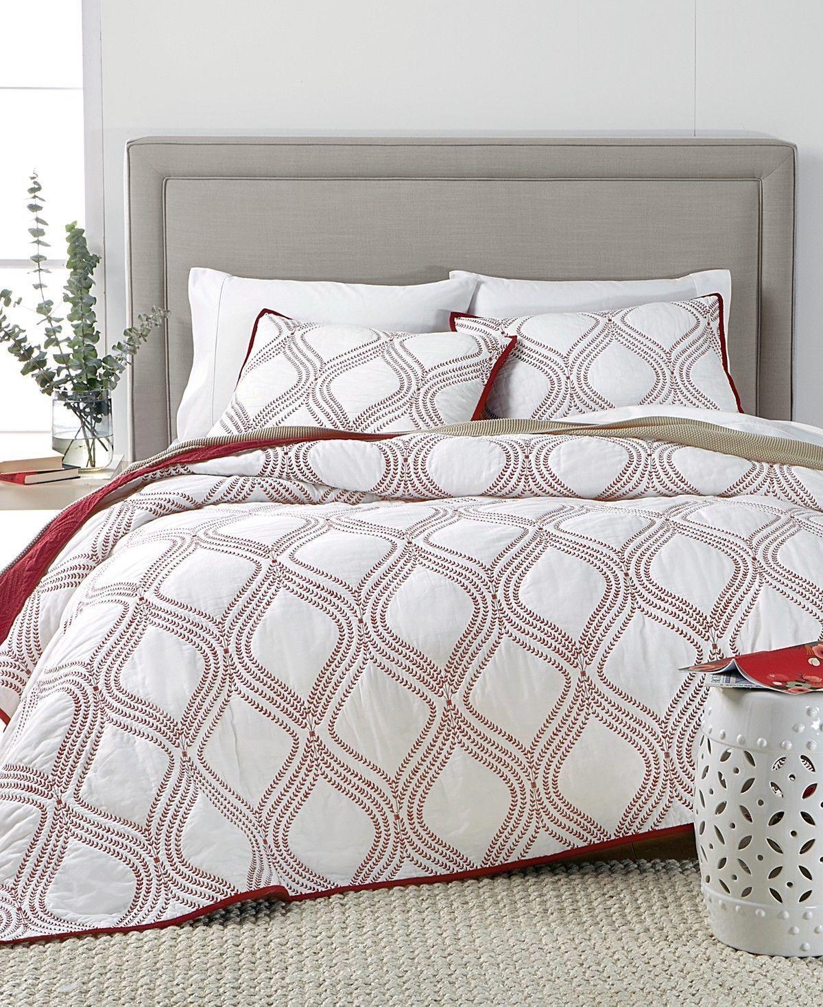 New Martha Stewart Gramercy Gate Red White Full Queen Quilt & Shams Set 3pc