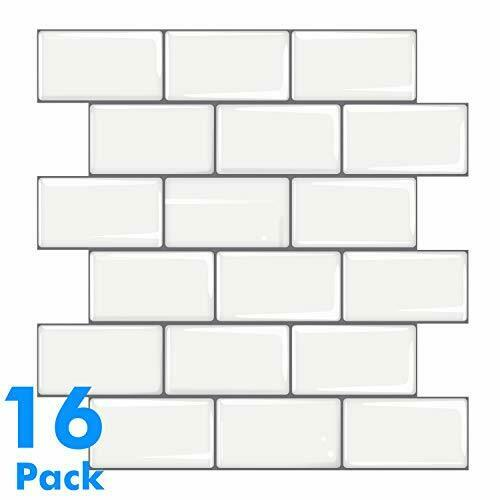 Mudder 16 Sheets 3D White Subway Tile Wallpaper Peel and Stick Backsplash Epoxy