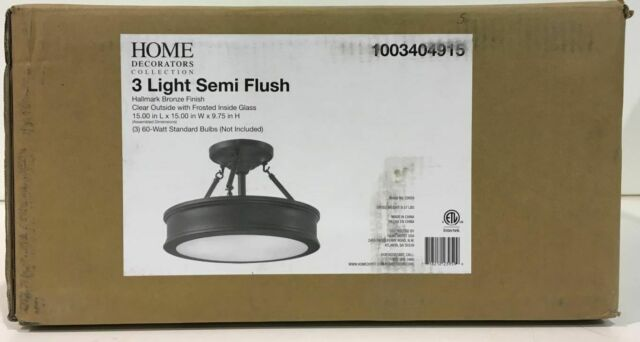 Home Decorators Collection 3-Light Bronze Semi-Flush Mount New