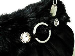 Image Is Loading Nwt Coach Ltd Ed Sm Black Fur Satin