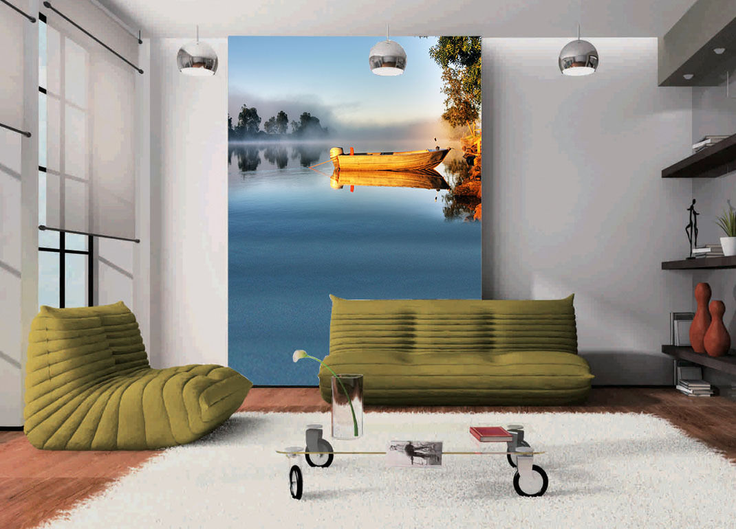 3D River Water Grün Trees Paper Wall Print Wall Decal Wall Deco Indoor Murals