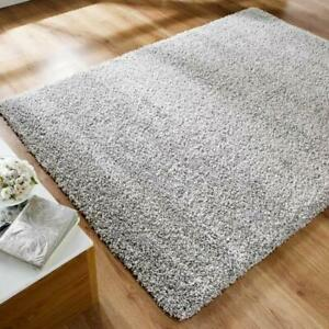 SILVER-GREY-PLAIN-SOFT-SILKY-5cm-PILE-MODERN-NON-SHED-HIGH-QUALITY-SHAGGY-RUGS
