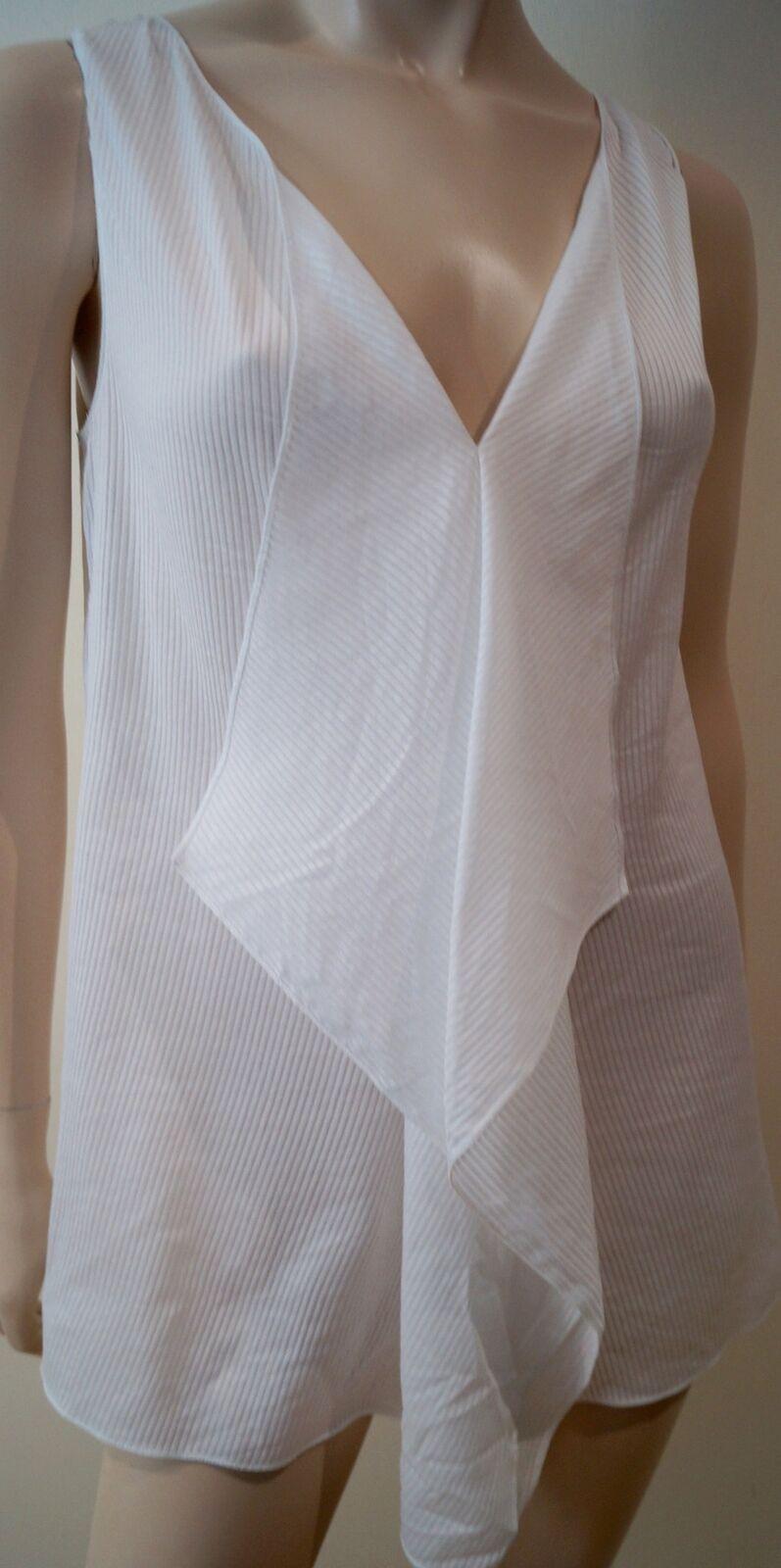 STELLA MCCARTNEY White Cotton Silk Stripe Embossed Sleeveless Blouse Top 40 UK10