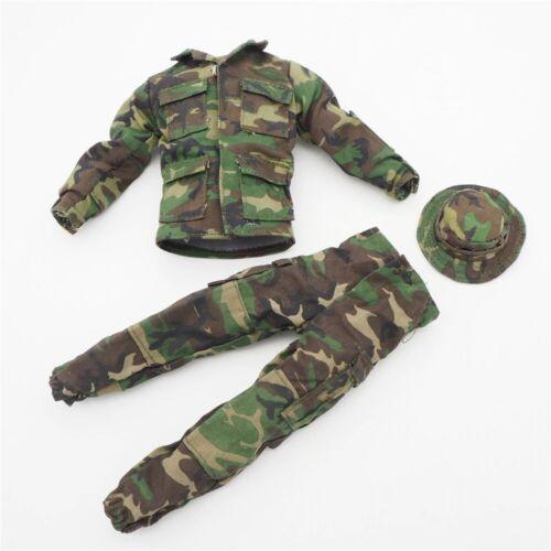 """Échelle 1//6 Camouflage uniforme vareuse pantalon chapeau militaire pour 12/"""" Action Figure UK"""