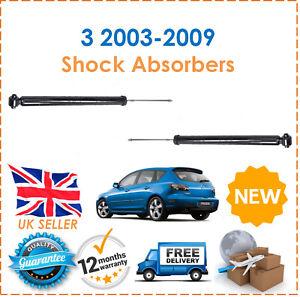 Para-Mazda-3-Negro-Sedan-2003-2009-Dos-Traseros-Gasolina-Amortiguadores-Set