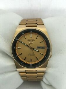 Seiko 5 Automatic 17 Jewels Day&Date Gold Plated 36mm 7009-3161 Bracelet Watch