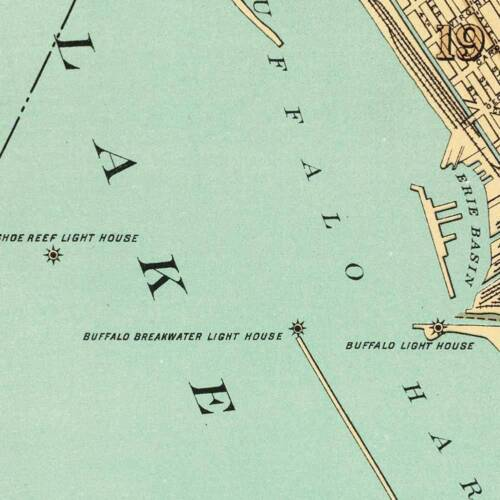 Vintage Street Repro Poster City of BUFFALO New York Downtown MAP circa 1895