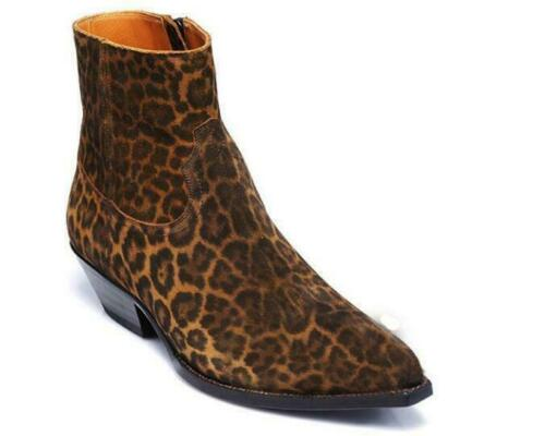 Men/'s Cuban Heels British Ankle Boot Chelsea Leopard Suede Leather Casual Shoes