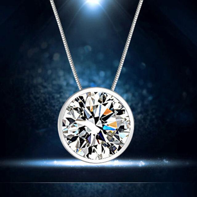 Elegant Round Single Rhinestone 925 Silver Pendant Necklace Jewelry Lovers Gift