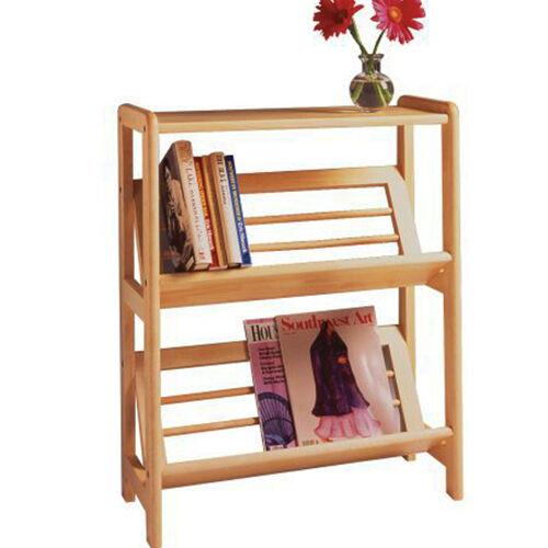 2 Tier Wooden Book Case Shelf Stand Solid Beech Wood Rack Open Display 24x30in