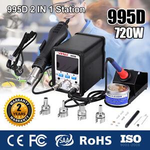 995D 720W 2In1 Hot Air Gun Rework Soldering Iron Station Repair Desoldering Weld 6924517896557