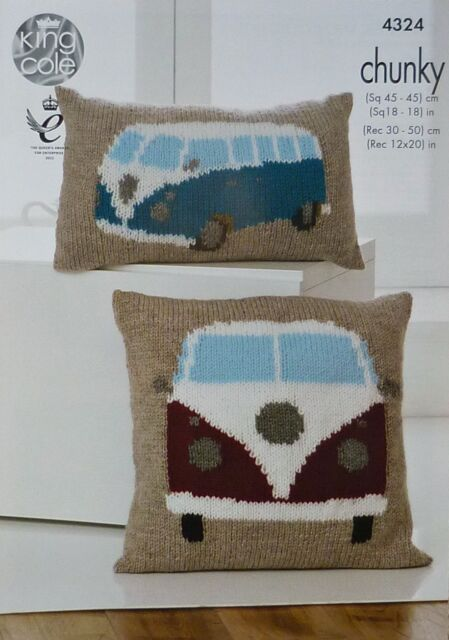KNITTING PATTERN Campervan Cushions Chunky King Cole 4324
