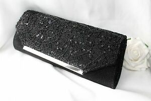 Bridal-Bridesmaid-Prom-Stunning-Black-sequin-Clutch-evening-bag-NEW