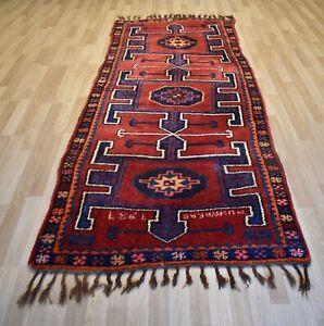 Caucasian-Kurdish-Handmade-Kazak-Runner-Rug-Dated-1987-Signed-Weavers-Name-5x12