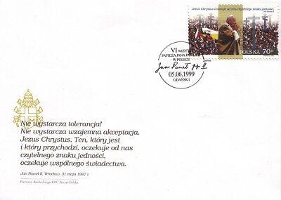 """Einen Effekt In Richtung Klare Sicht Erzeugen 1251 Fdc.polen """" Vi Besuch Von Papst In Polen 1999 """" ."""