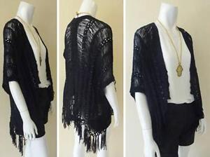 Ladies-Kimono-Fringe-Wrap-Shawl-Cardigan-One-Size-Top-Tassel-Black-NEW-SALE