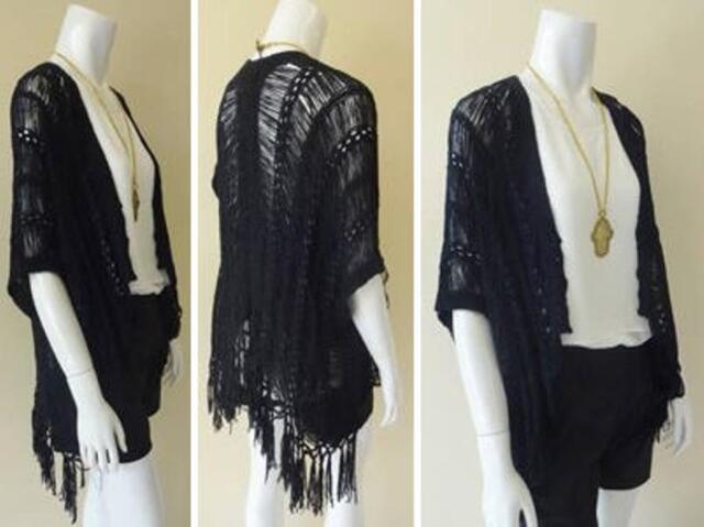 Ladies Kimono Fringe Wrap Shawl Cardigan One Size Top Tassel Black NEW SALE