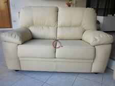 divano imbottito 2 posti in ecopelle pelle salotto di ottima qualità italy panna