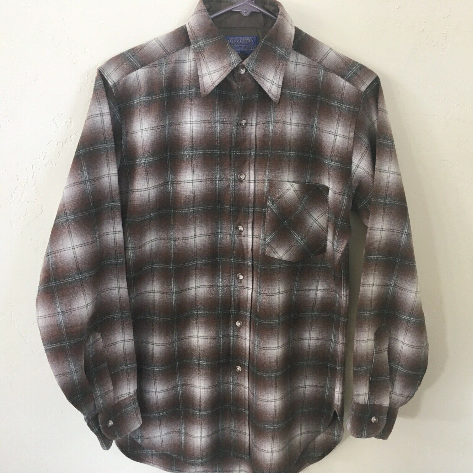 Pendleton 100% Virgin Wool Brown Plaid Shirt  Men's S USA Made
