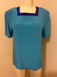 SILK-BOUTIQUE-BLUE-SQUARE-NECK-SHORT-SLEEVES-WOMENS-BLOUSE-TOP-SIZE-M