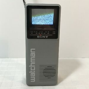 Sony-Watchman-FD-10A-2-034-CRT-B-amp-W-Handheld-Portable-Television-TV-WORKING-UHF-VHF