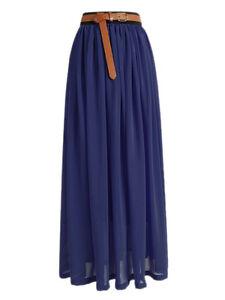 c525c0b2f7f9 Navy blue   Women Lady Chiffon Retro Long Maxi Dress Elastic Skirt ...