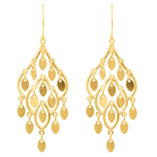 Fashion 14K Yellow Gold Textured Shiny Multi Drop Leaf On Teardrop Drop Earring