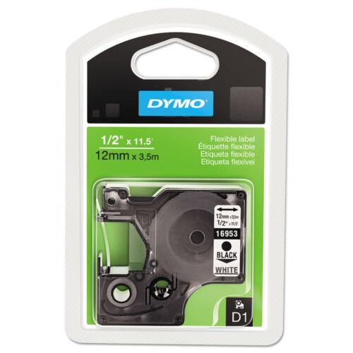 """/""""DYMO D1 Flexible Nylon Label Maker Tape 1//2in x 12ft Black on White/"""""""