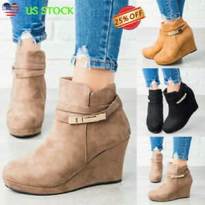 Womens-Suede-Wedge-Heel-Chunky-Boots-Ladies-Zipper-Round-Toe-Ankle-Shoes-Booties