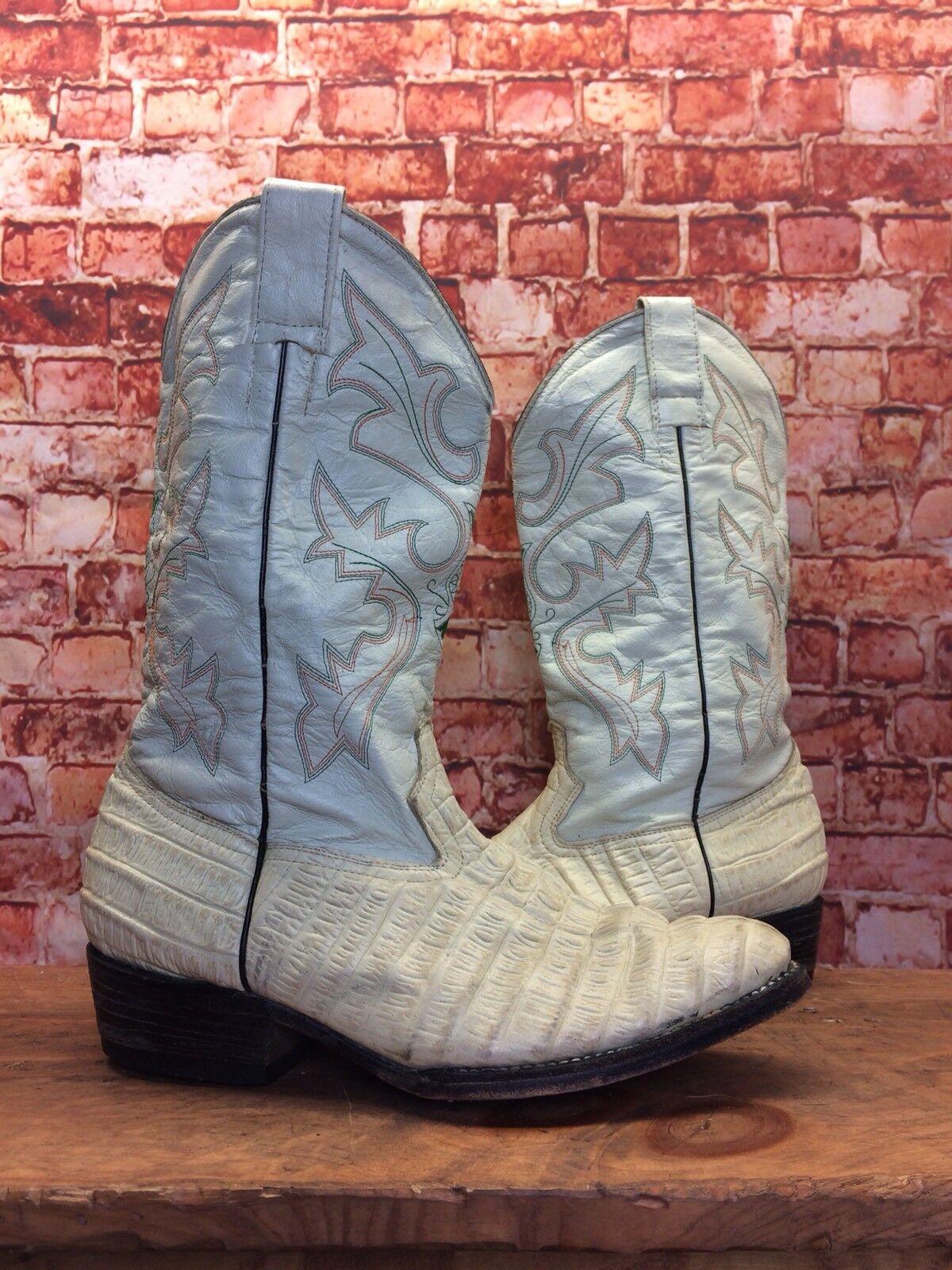 Vintage Hombres blancoo Croc Relieve blancoo botas Cowboy Oeste