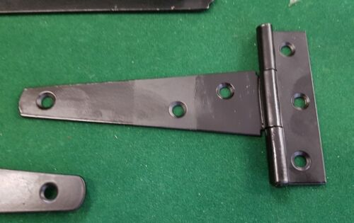 450mm HEAVY DUTY Gate Shed Door T Hinges FREEPOST 2 x Black Tee Hinges 18/""
