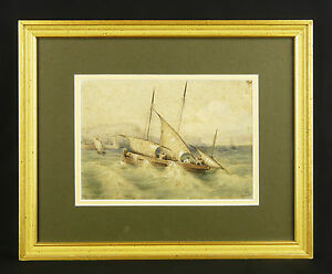 Antique-Watercolour-Signed-Sailboat-with-Wiggle-Boat-Marine-Normandy