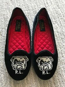 d234affb7041 Ralph Lauren BULLDOG Black Velvet Ballet Flats Tuxedo Shoes US Youth ...