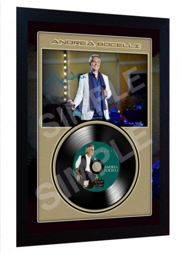 Andrea Bocelli Cinema RSIGNED FRAMED PHOTO PRINT AND Mini LP Perfect gift