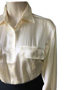 WOMEN-039-S-UK-12-14-Camicia-in-seta-di-raso-crema-oversize-Baggy-business-lavoro-Top-Camicetta