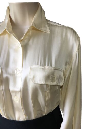 Women/'s UK 8 Silk Satin Button-Up Shirt Rich Cream Utility Top Blouse Pockets