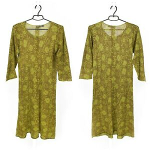 Womens-Gudrun-Sjoden-Tunic-Dress-Green-3-4-Sleeve-Cotton-Floral-Print-Size-M