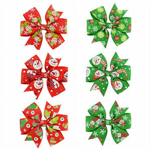 6Pcs-Girl-Christmas-Holiday-Gift-Snowflake-Ribbon-Hair-Bows-Clip-Girl-Hairpin-NN