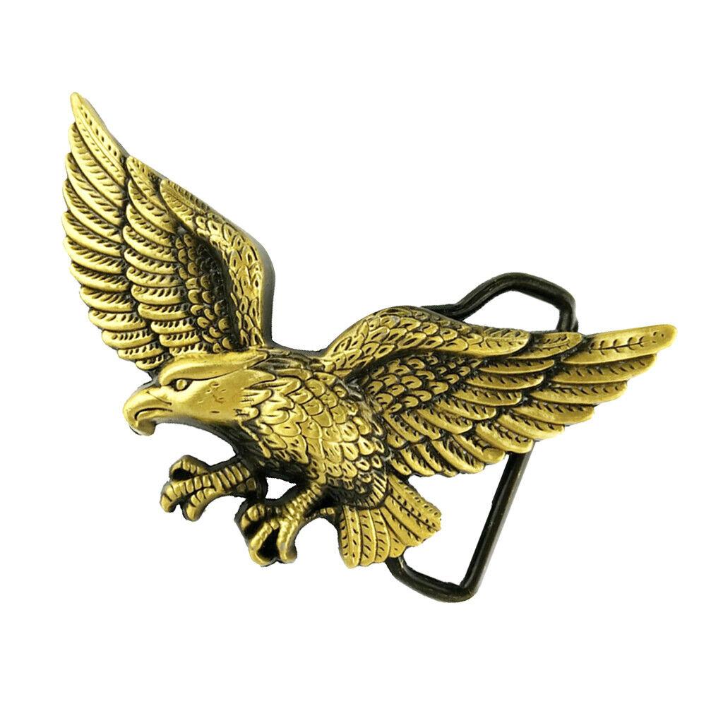 Carved 3D Flying Eagle Pattern Alloy Belt Buckle for Men Cowboy Jean -Bronze
